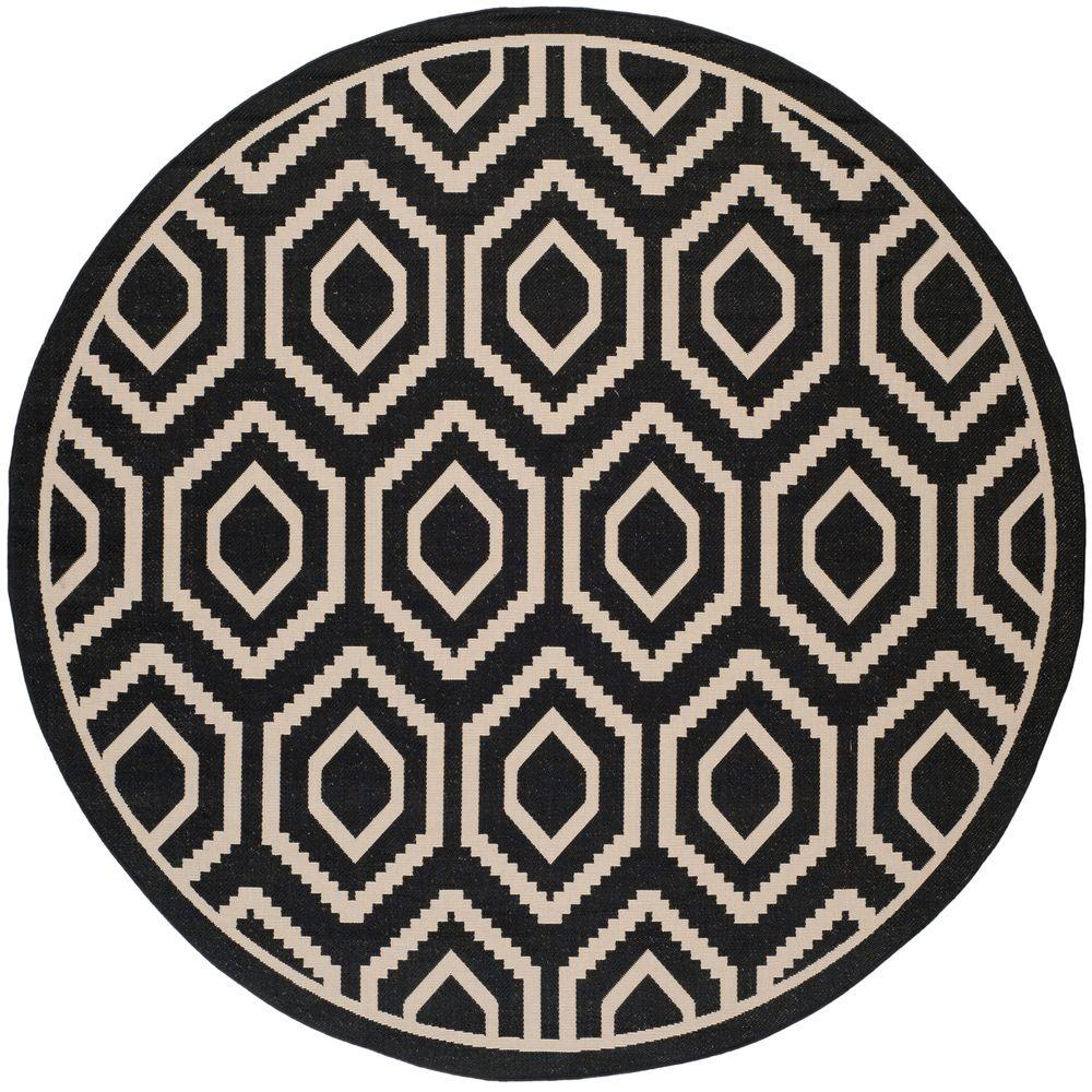 Safavieh Courtyard Black Beige 8 Ft X Indoor Outdoor Round