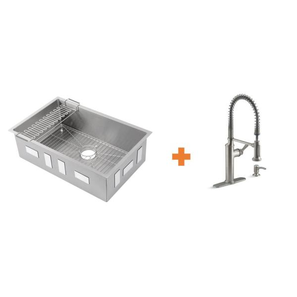 Strive All-in-One Undermount Stainless Steel Single Bowl Kitchen Sink with Sous Faucet in Stainless Steel (2-piece)