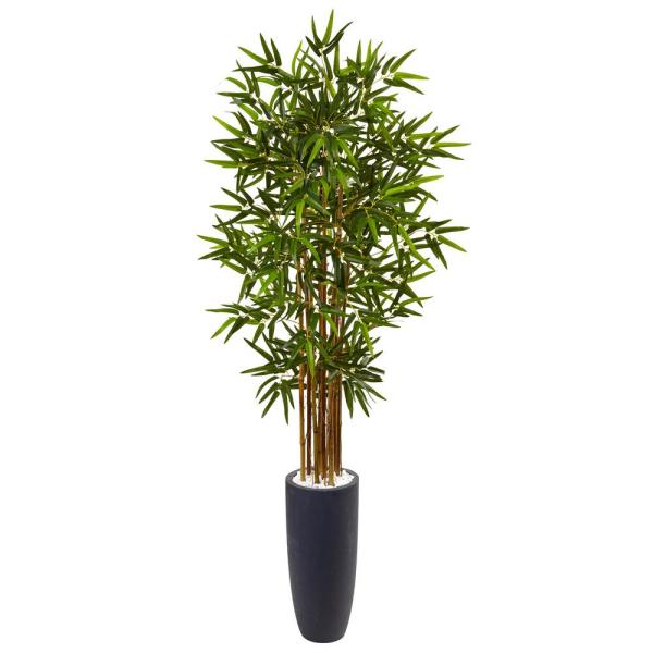 Nearly Natural Indoor Bamboo Artificial Tree in Gray Cylinder Planter
