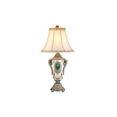 31.5 in. Pearl White with Jade Table Lamp