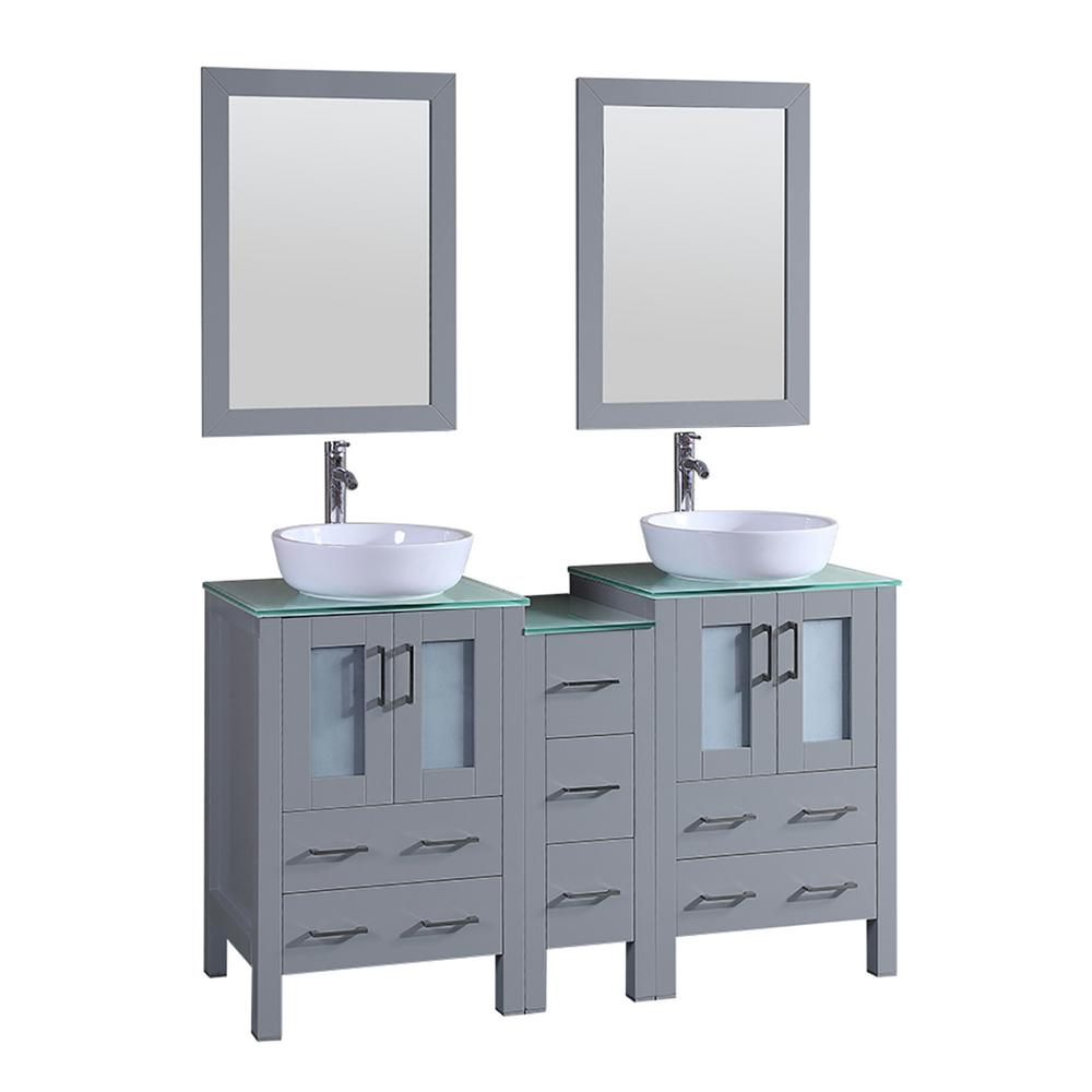 Bosconi 60 in. W Double Bath Vanity in Gray with Vanity