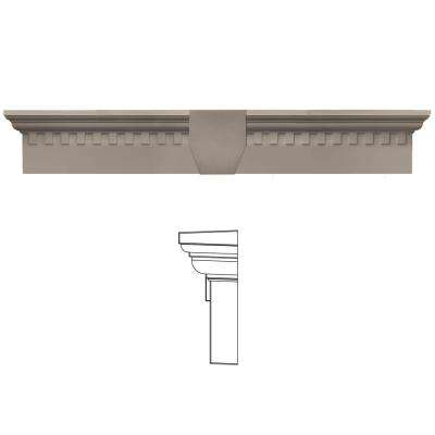6 in. x 33 5/8 in. Classic Dentil Window Header with Keystone in 008 Clay