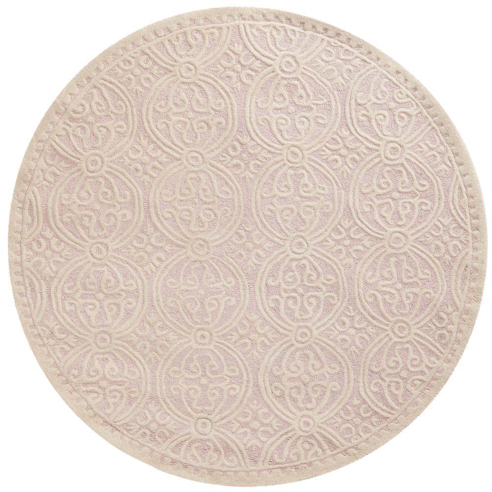 Safavieh Cambridge Light Pink/Ivory 6 ft. x 6 ft. Round Area Rug
