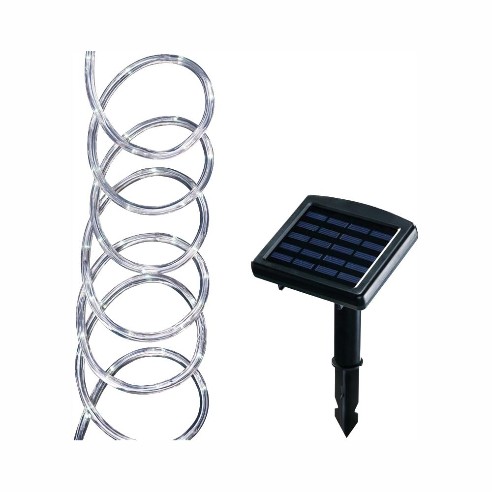 hampton bay Solar Powered 16 ft. Clear Outdoor Integrated LED 5000K Warm White Landscape Rope Light with Remote Panel