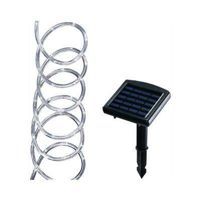 Solar Powered 16 Ft Clear Outdoor Integrated Led 5000k Warm White Landscape Rope Light With Remote Panel