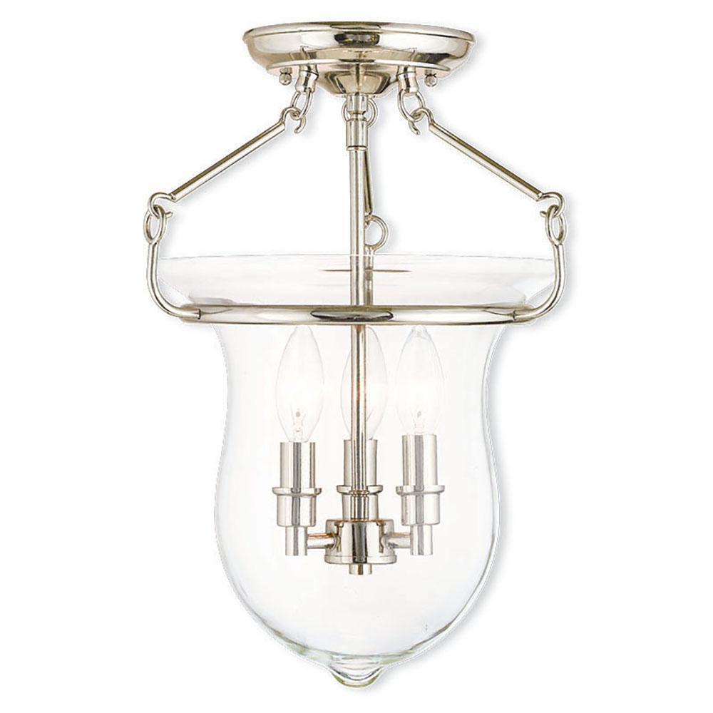 Livex Lighting Canterbury 3-Light Polished Nickel Flush Mount