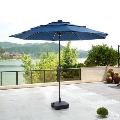 9.8 ft. Solar-Powered Light-UP Tilt Market Umbrella With Base in Blue