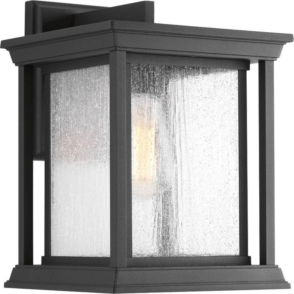 Progress Lighting Endicott Collection 1-Light Black 12.5 in. Outdoor Wall Lantern Sconce