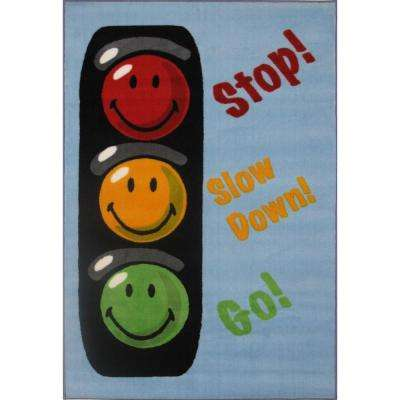 Smiley Traffic Signal Multi Colored 3 ft. x 5 ft. Area Rug