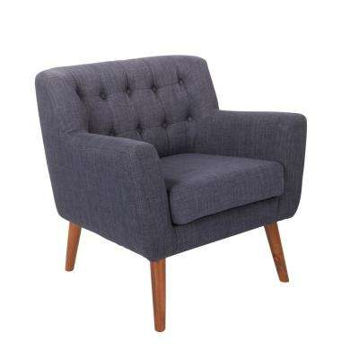 Mill Lane Navy Fabric Chair with Coffee Legs