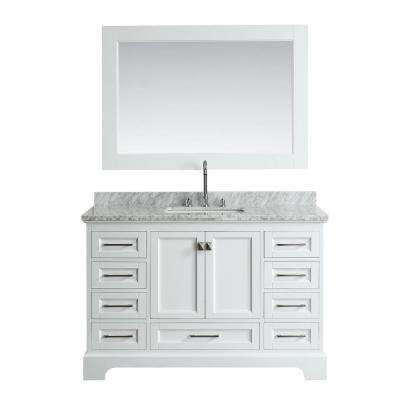 Omega 54 in. W x 22 in. D Vanity in White with Marble Vanity Top in White with White Basin and Mirror