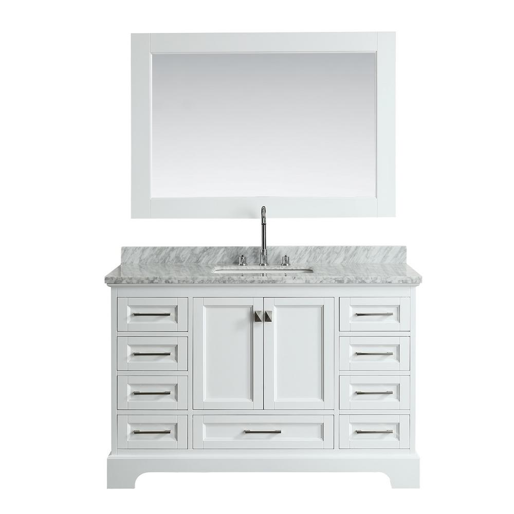 Design Element Omega 54 in. W x 22 in. D Vanity in White with Marble ...