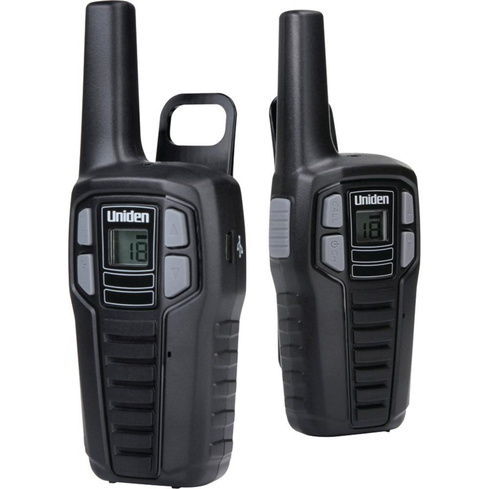 Uniden 16-Mile 2-Way FRS/Gmrs Radios with Batteries (2-Pack) These Uniden 16-Mile 2-Way FRS/GMRS Radios are great for keeping in touch when you're out with family and friends. Whether you're camping, shopping, hiking or any other activity these radios will help you stay connected without having to worry about cell phone coverage or minutes. Enjoy simple, fuss-free two-way communication with Uniden.
