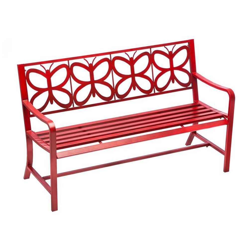 Cape Craftsman 56 in. Red Butterfly Metal Outdoor Bench