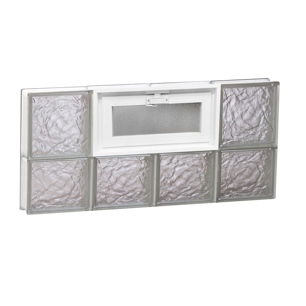 Clearly Secure 31 in. x 13.5 in. x 3.125 in. Vented Ice Pattern Frameless Glass Block Window