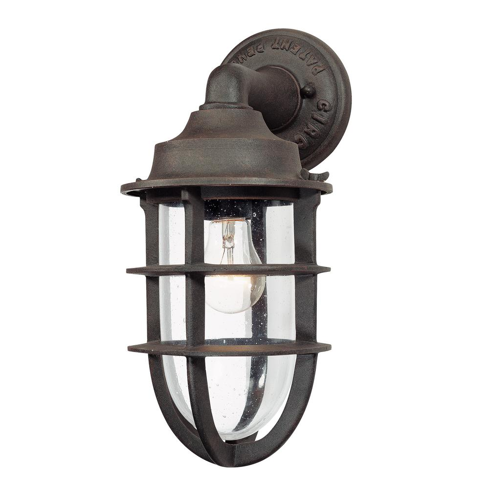Troy Lighting Wilmington Nautical Rust Outdoor Wall Lantern Sconce B1866nr The Home Depot
