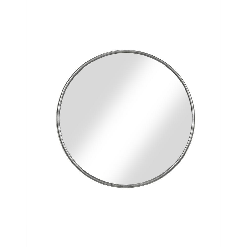 Medium Round Pewter Hooks Modern Mirror (30 in. H x 30 in. W)