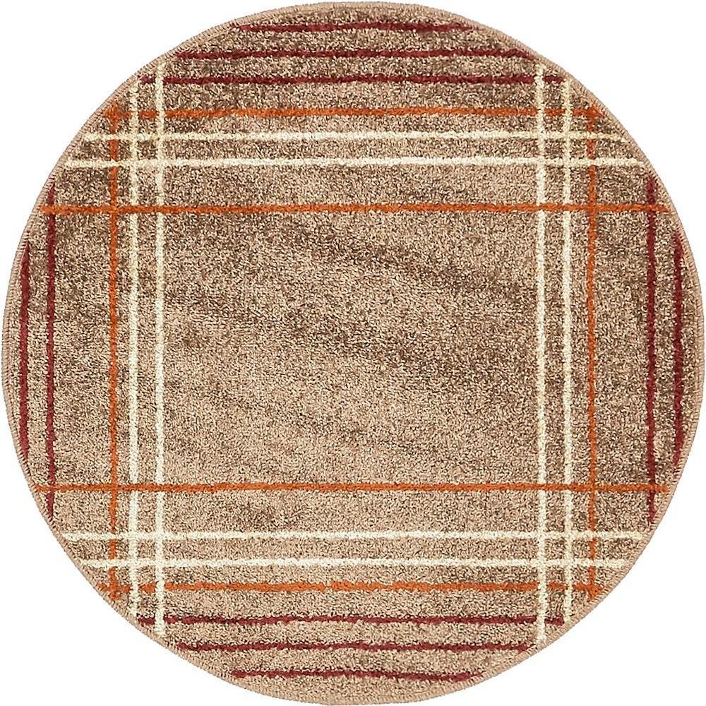 Autumn Heritage Light Brown 3' 3 x 3' 3 Round Rug