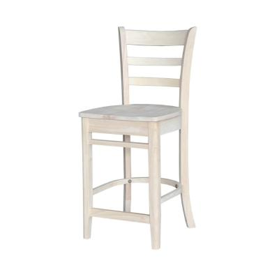 Emily 24 in. Unfinished Wood Bar Stool