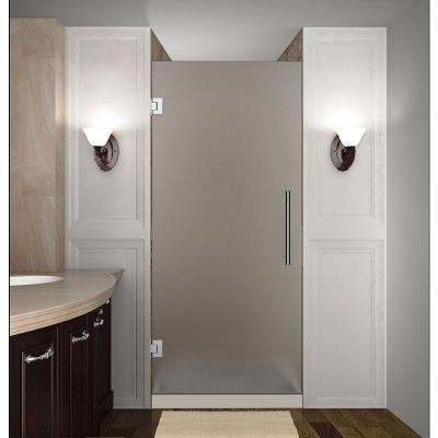 Cascadia 34 in. x 72 in. Completely Frameless Hinged Shower Door with Frosted Glass in Stainless Steel