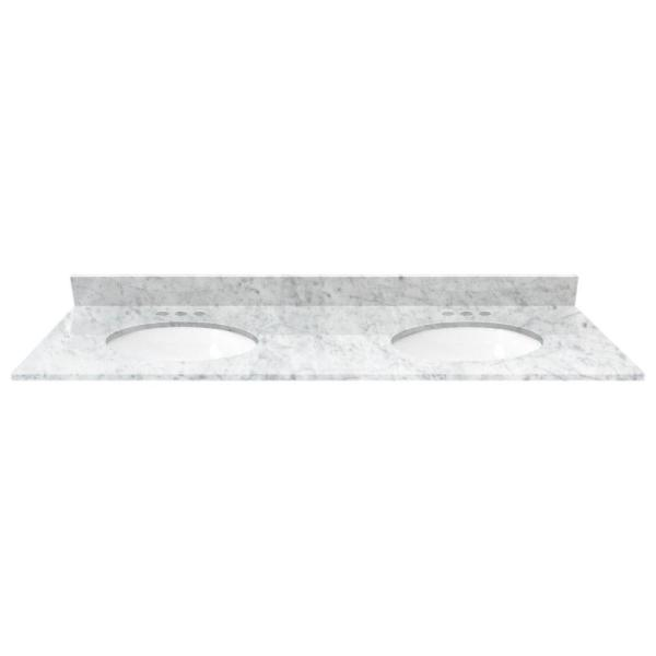 Cardell - 61 in. Marble Vanity Top in White Carrara with White Basin