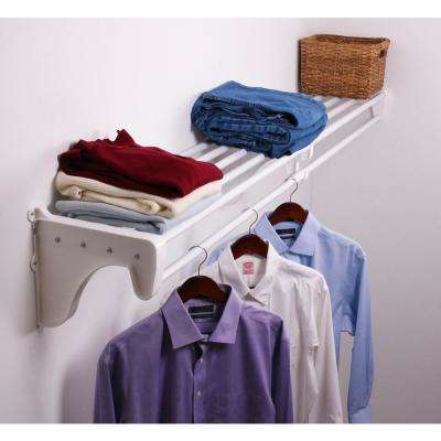 12 in. D x 41 in. to 74 in. W x 10.5 in. H Expandable White Steel Tubes with 1 End Bracket Shelf and Rod Closet System