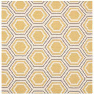 Dhurries Ivory/Yellow 6 ft. x 6 ft. Square Area Rug