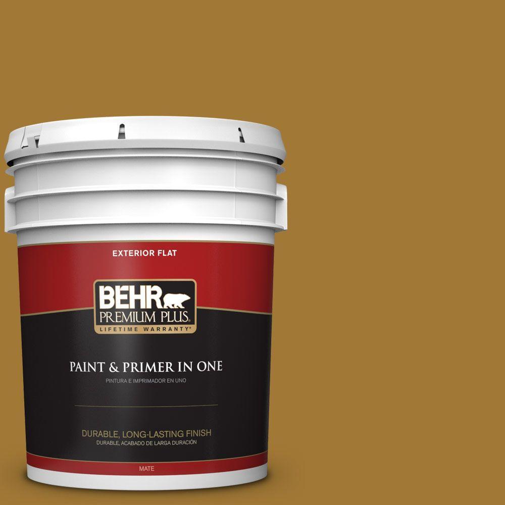 BEHR Premium Plus 5-gal. #320D-7 Victorian Gold Flat Exterior Paint