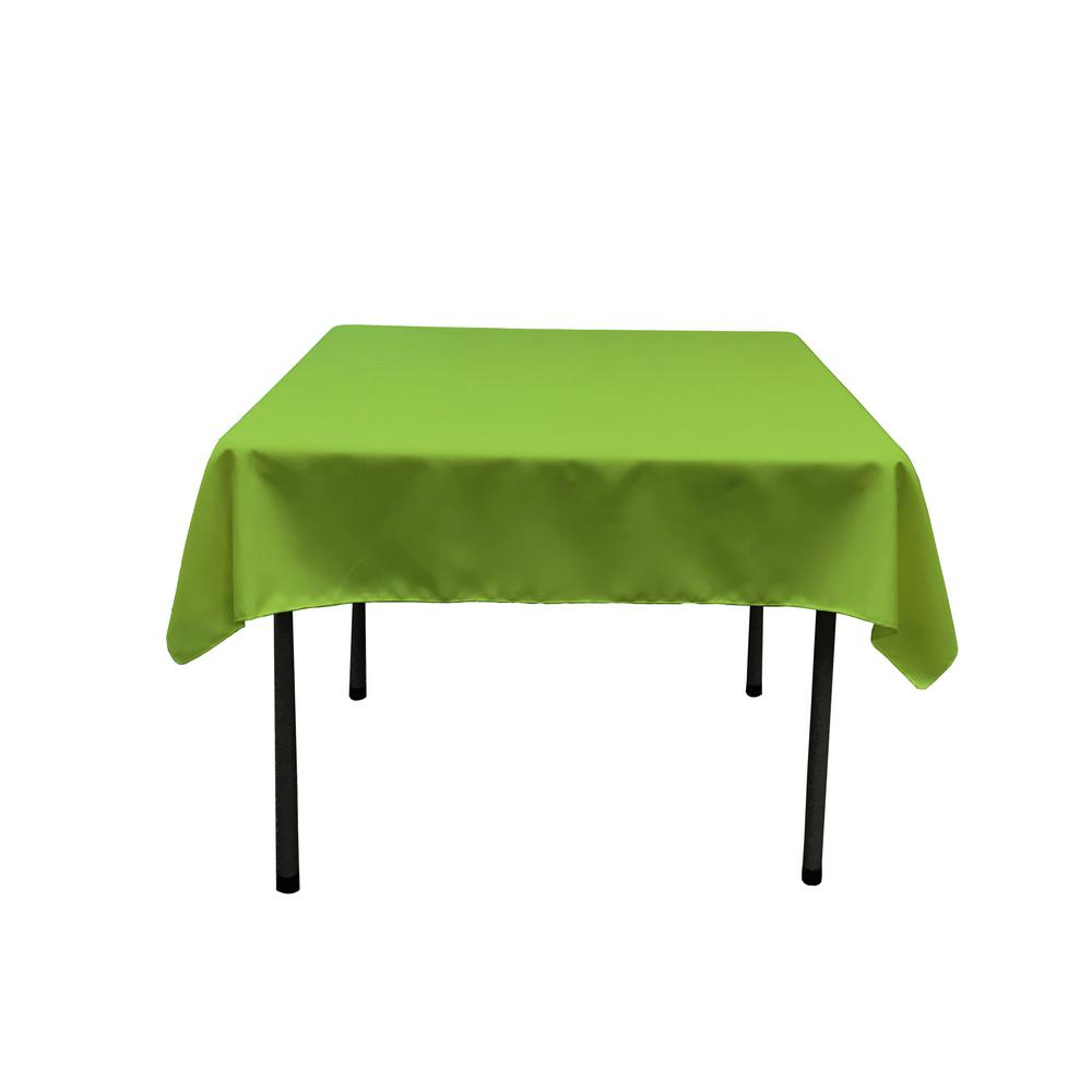 La Linen 52 In X 52 In Lime Polyester Poplin Square Tablecloth