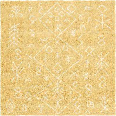 Marrakesh Shag Yellow 8 Ft. X 8 Ft. Square Area Rug