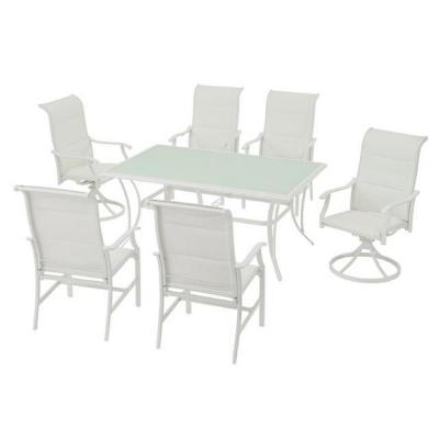 Riverbrook Shell White 7-Piece Outdoor Patio Aluminum Rectangular Glass Top Dining Set with Padded Sling Chairs