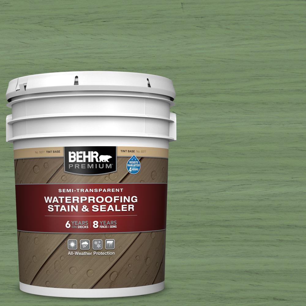 BEHR PREMIUM 5 gal. #ST-132 Sea Foam Semi-Transparent Waterproofing Exterior Wood Stain and Sealer