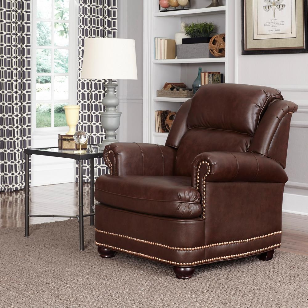 Super Homestyles Beau Brown Faux Leather Arm Chair With Ottoman Unemploymentrelief Wooden Chair Designs For Living Room Unemploymentrelieforg