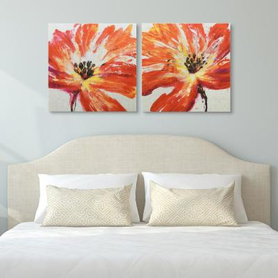 """""""Fleur Rouge I & II"""" High Resolution Graphic Art Print on Wrapped Canvas Wall Art"""