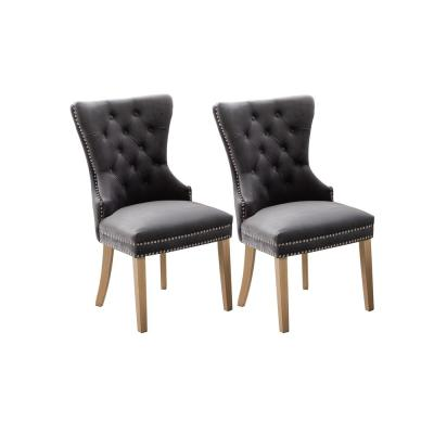Troyes Dark Grey Upholstered Wingback Chair
