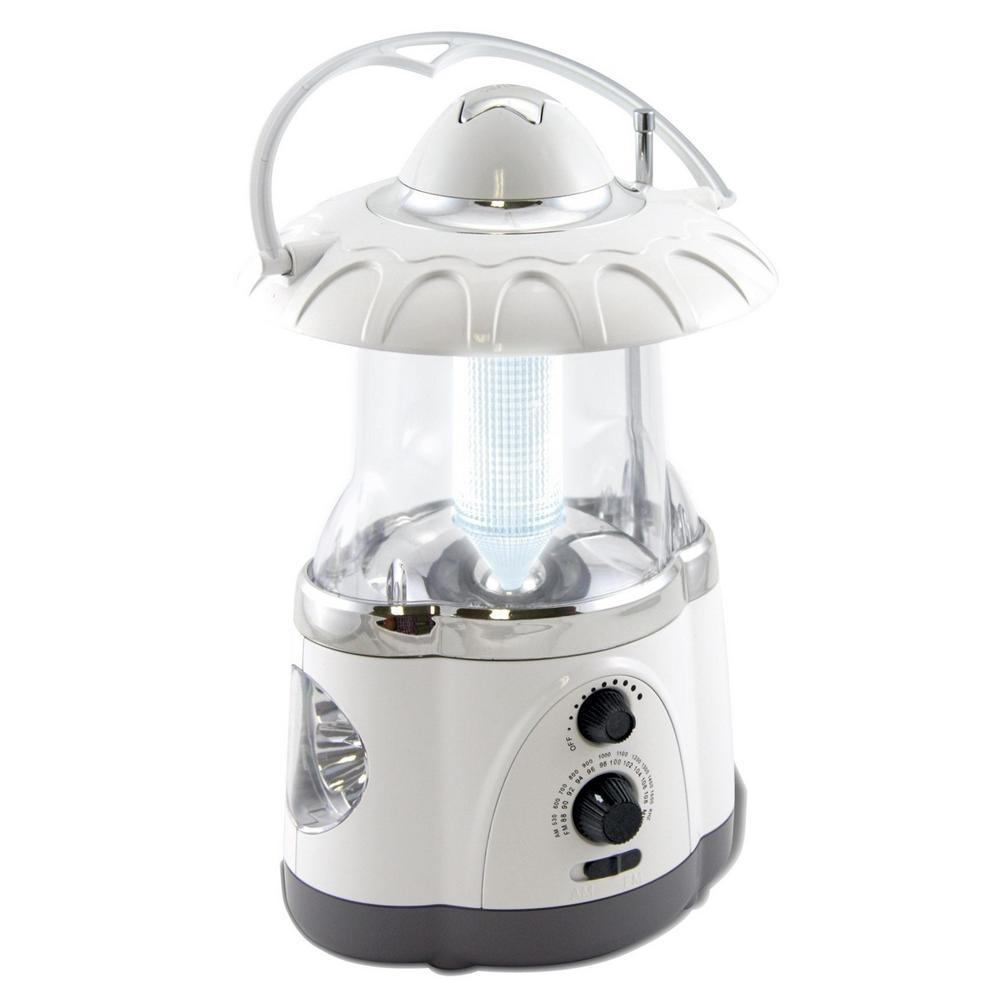 Multifunction Battery Operated White Radio Lantern with Flashlight