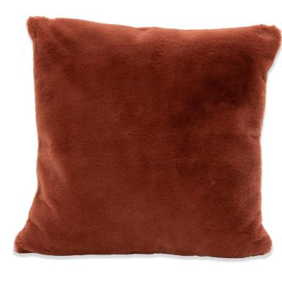Piper Clay Faux Rabbit Fur Polyester Fill 20 in. x 20 in. Throw Pillow