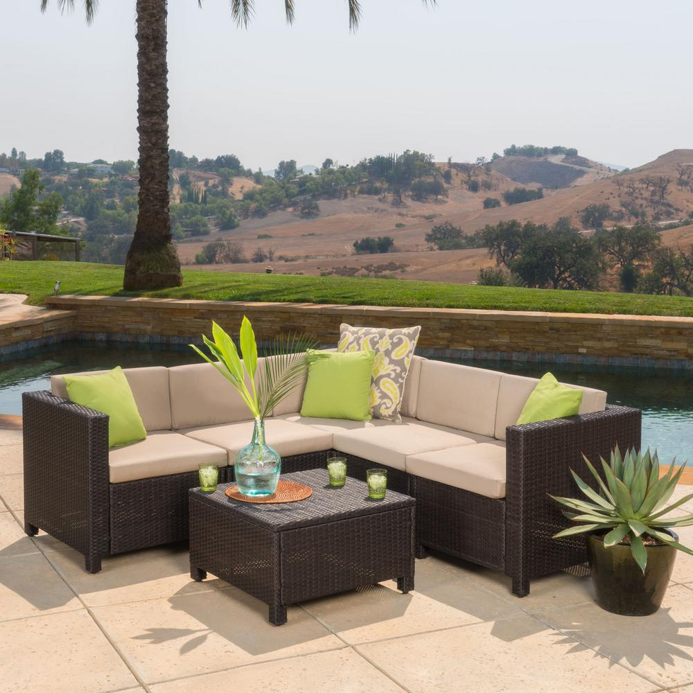 Noble House Puerta Dark Brown 6-Piece Wicker Outdoor Sectional Set with  Beige Cushions
