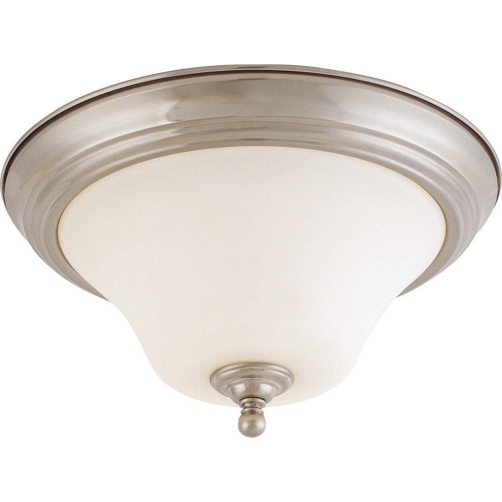 2-Light Brushed Nickel Flush Mount with Satin White Glass