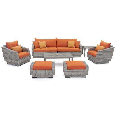 Cannes 8-Piece Patio Sofa and Club Chair Seating Group with Tikka Orange Cushions