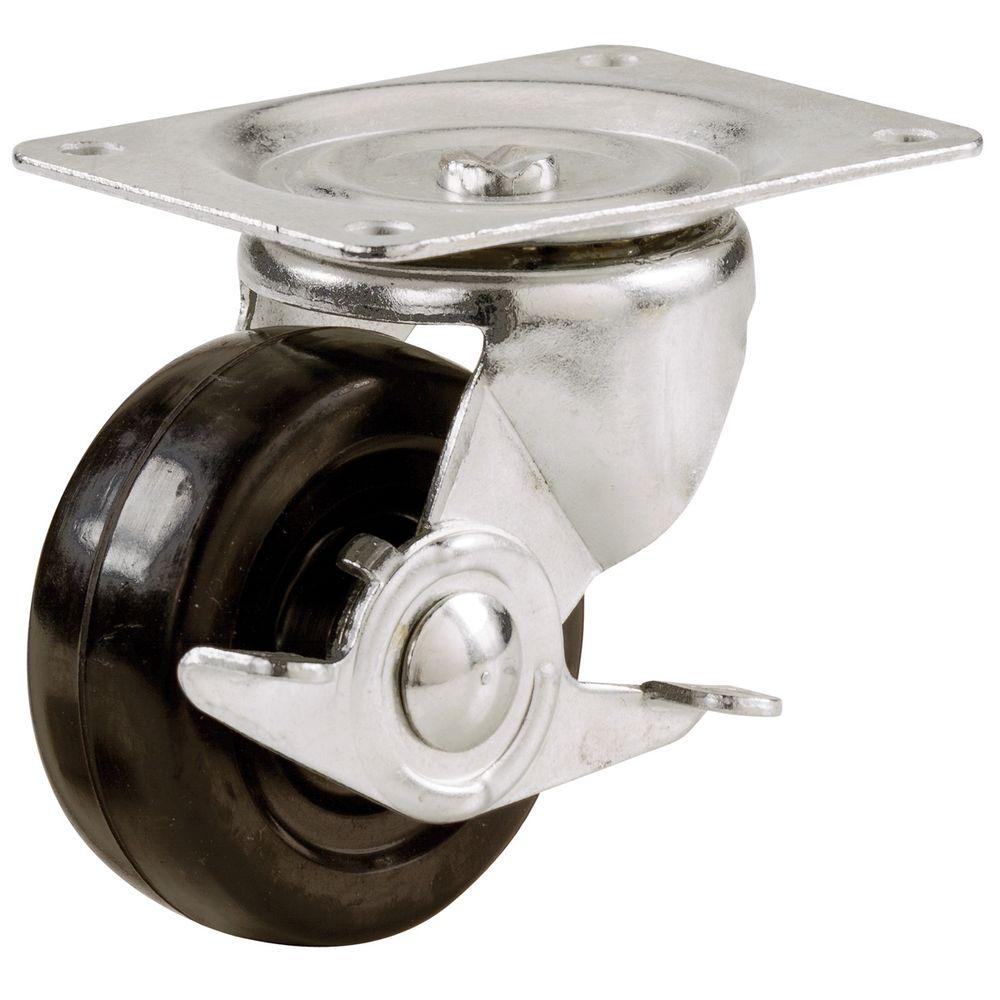 Everbilt 2-1/2 in. Soft Rubber Swivel Plate Caster with 100 lbs. Load Rating and Brake