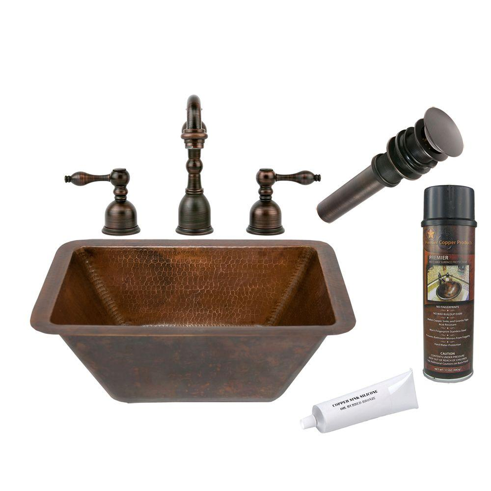 All-in-One Small Rectangle Under Counter Hammered Copper Bathroom Sink in Oil