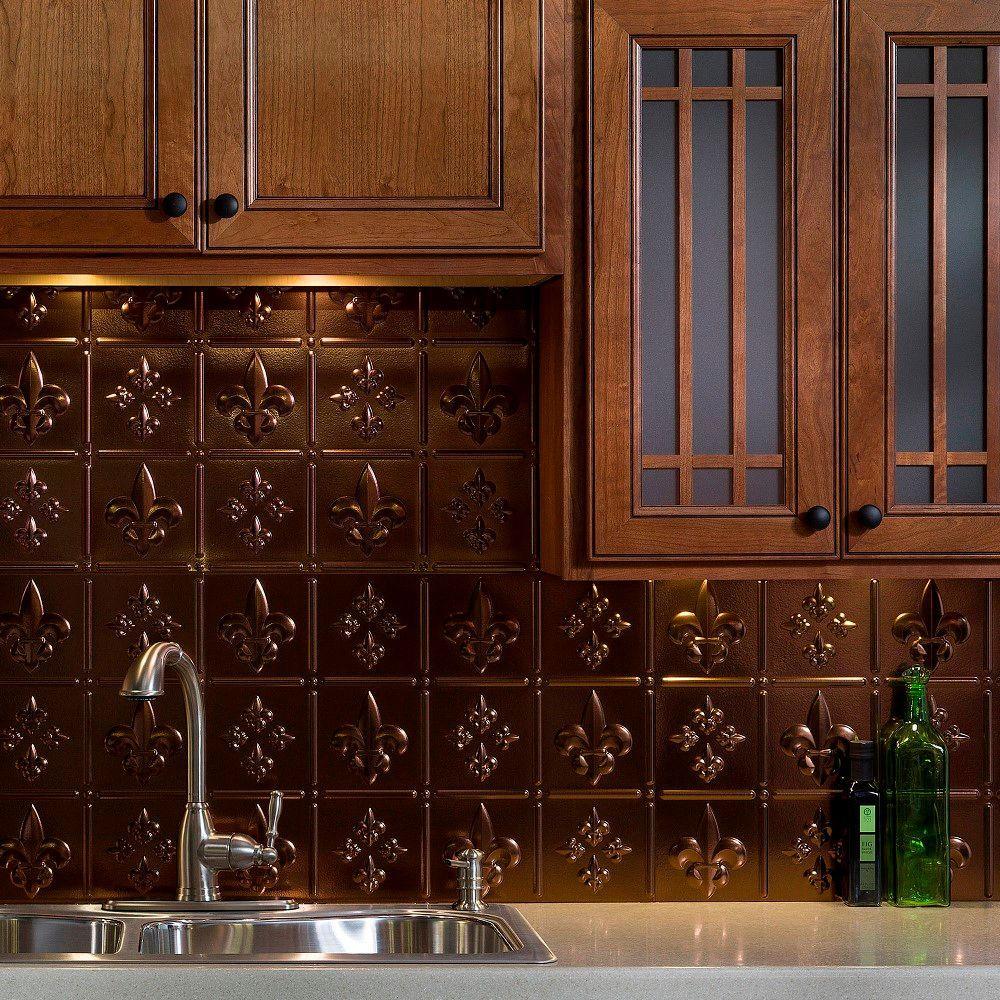 Fasade 24 in. x 18 in. Fleur de Lis PVC Decorative Tile Backsplash in Oil Rubbed Bronze