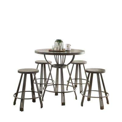 Davin Gray Oak and Gunmetal 5-Piece Pack Counter Height Set