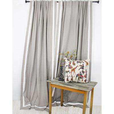 96 in. L Ivory with Natural Trimmed Curtain Panel