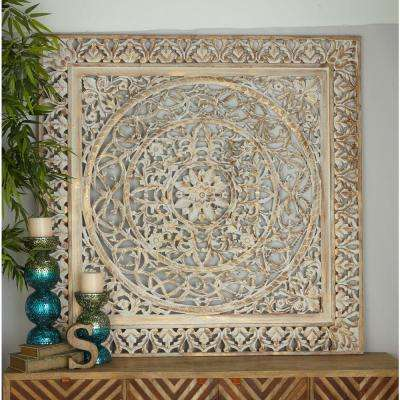 59 in. x 59 in. Rustic Decorative Carved Filigree-Patterned Wooden Wall Panel in Distressed Brown