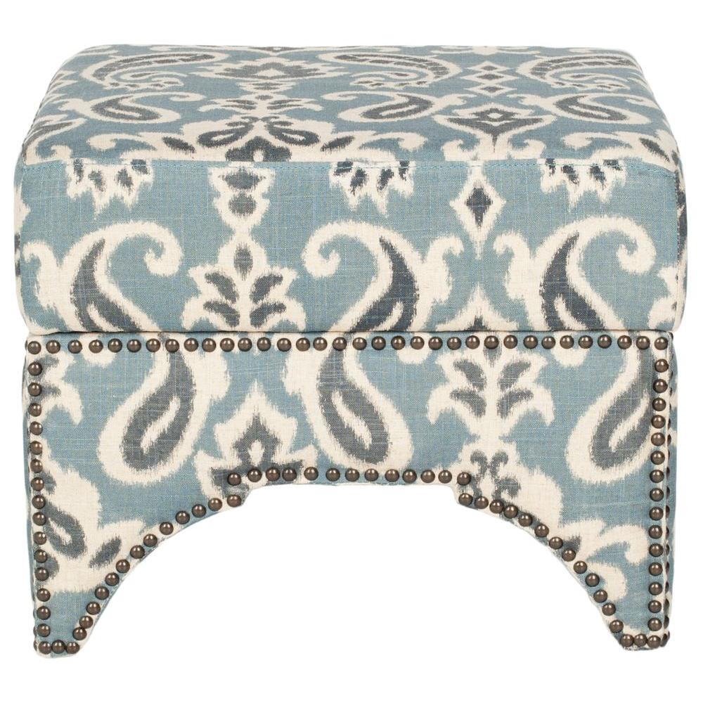 Safavieh Declan Blue, Gray And Off White Storage Ottoman