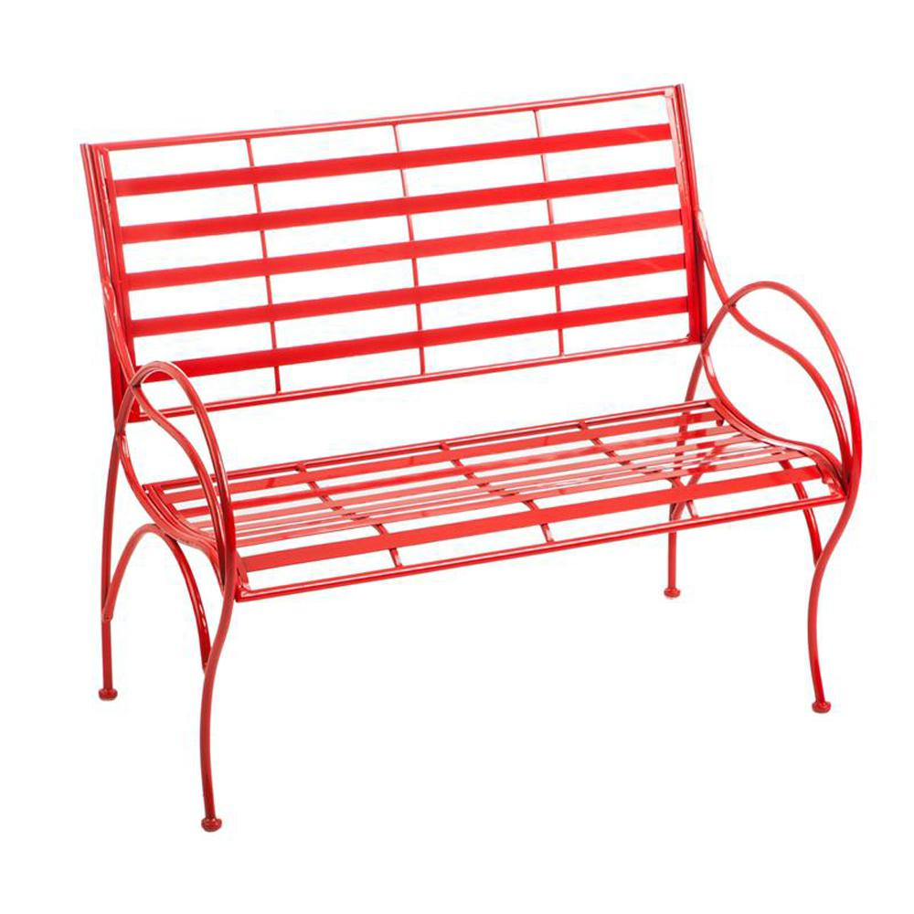 36 In Red Swirl Metal Outdoor Garden Bench