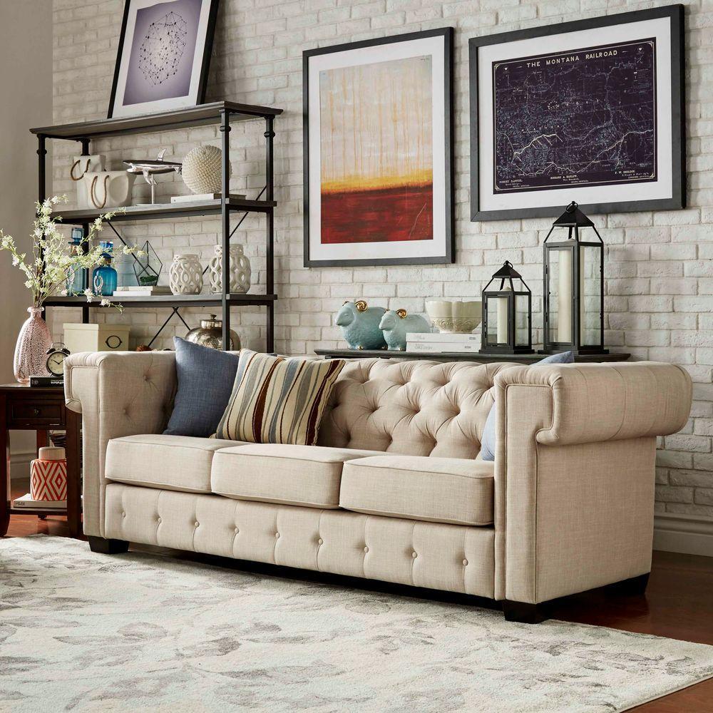 HomeSullivan Radcliffe Oatmeal Linen Sofa