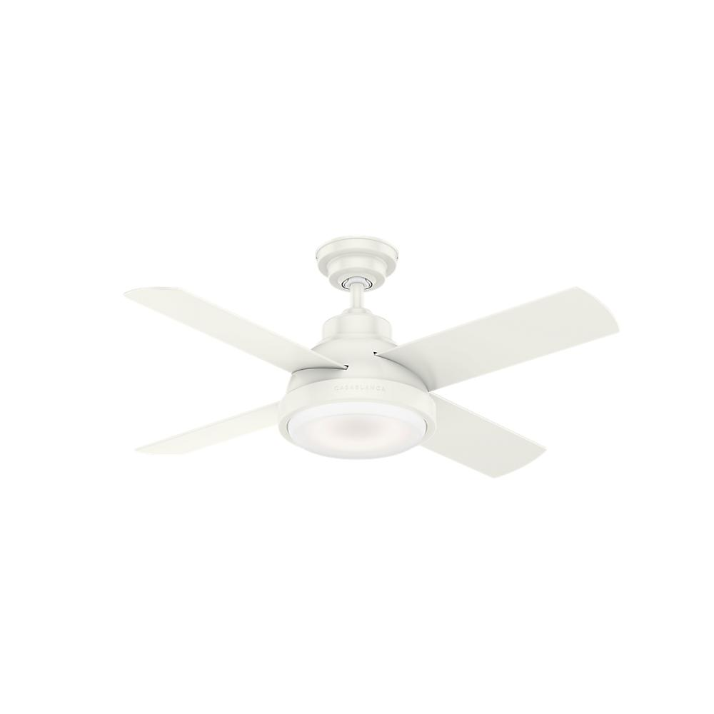 Casablanca Levitt 44 in. LED Indoor Fresh White Ceiling Fan with Light Kit and Handheld Remote